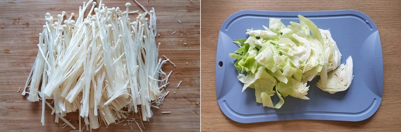 Nấm kim châm cắt bỏ chân Bắp cải cắt miếng vừa ăn