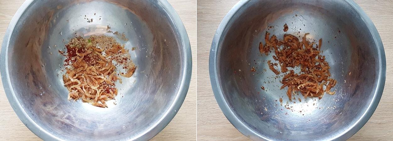Cho tỏi băm, gừng, bột ớt đỏ, vừng, đường và tôm khô vào bát trộn đều.