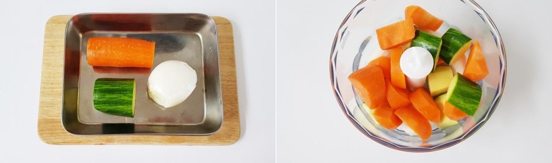 Hành tây, cà rốt và bí ngòi sơ chế sạch cho vào máy xay xay nhỏ.
