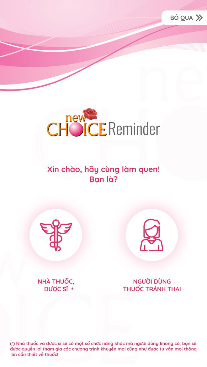 Giao diện App tránh thai New Choice