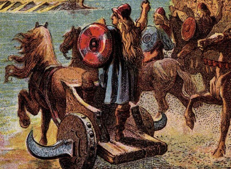 Người La Mã cổ đại trên xe ngựa, với mái tóc dài ở phía sau
