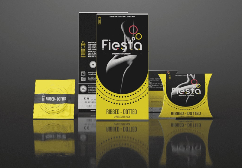 Mẫu bao cao su gân gai Fiesta® Ribbed – Dotted 3 IN 1